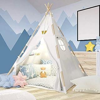 Tacobear Teepee tält barn vikbar stor vit lek indiskt tält för barn flickor pojkar med stjärna ljusslinga fjäder bärväska ...