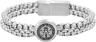 Men's Double Stranded Box Chain Bracelet with Rose Circle...