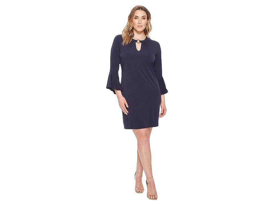 MICHAEL Michael Kors Plus Size Ring Neck Flounce Sleeve Dress (True Navy) Women