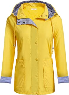 Zeagoo Women's Raincoat Lightweight Hooded Jacket Waterproof Packable Active Outdoor Rain Coats