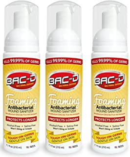 BAC-D 619 Antibacterial Alcohol Free Foaming Wound Sanitizer, 7.1oz (Pack of 3)