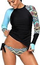 REKITA Womens Long Sleeve Rashguard Shirt Color Block Print Tankini Swimsuit