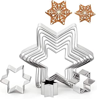 GWHOLE Christmas Cookie Cutters Stainless Steel Hexagon Star Shaped Six-Pointed Cookie Cutter Mold Pastry Biscuit Baking M...