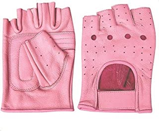 Ladies Pink Leather Fingerless Gloves W/Padded Palm AL-3012-S
