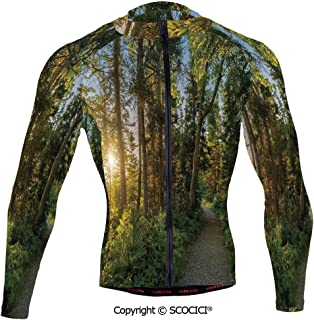 Cycling Jersey Long Sleeves Men,National Park in Cape Breton Highlands Canada Fo