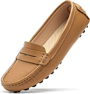 ec5b140b953 Artisure Women s Classic Genuine Leather Penny Loafers Driving Moccasins  Casual Slip On Boat Shoes Fashion Comfort