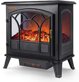 TACKLIFE Electric Fireplace Heater Adjustable Flame Portable Indoor Freestanding Fireplace Stove Dual Mode 750W-1500W 2600BTU-5200BTU CSA Certified