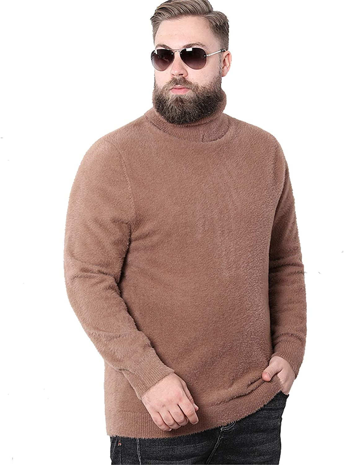 Men's Knitted Pullover Jumpers Thick Sweater Soft Highneck Long Sleeve Fall Winter Cardigans Warm Knitwear Outwear,Brown,L