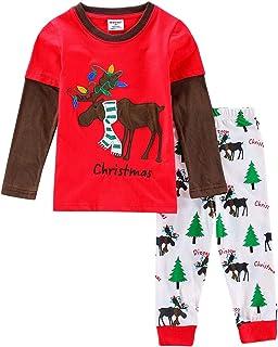 66d7ec7d55006 Amooy DiZi Unisexe Bébé Pyjama - Enfant Garçon Filles Ensemble de Pyjama  Père Noël Déguisement Manches