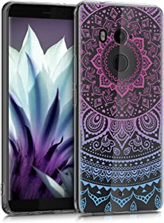 kwmobile TPU Silicone Case for HTC U11+ / U11 Plus - Crystal Clear Smartphone Back Case Protective Cover - Blue/Dark Pink/Transparent