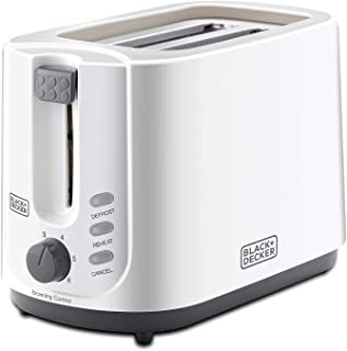Black+Decker 750W 2 Slice Cool Touch Bread Toaster, White - ET125-B5, 2 Years Warranty