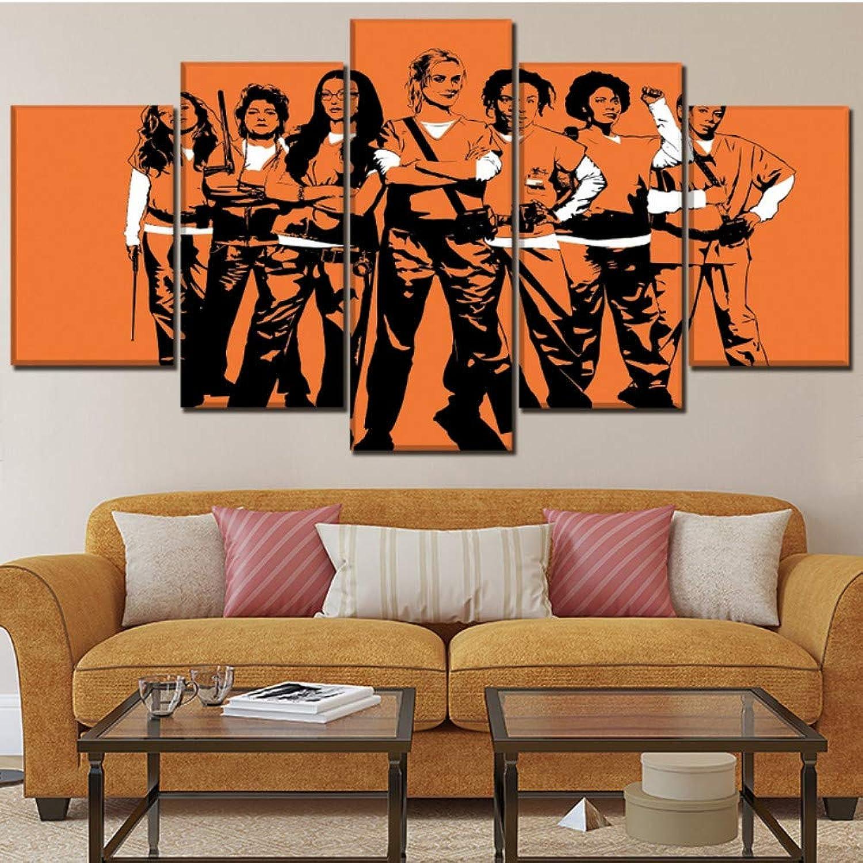 Modern Home Decor One Set 5 Piezas TV Show naranja es el Nuevo Cartel Negro Impresión en Lienzo Pintura Obra de Arte en la Parojo Imagen Modular 40x60cmx2 40x80cmx2 40x100cmx1 Sin Marco