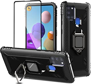PULEN for Samsung Galaxy A21s Case with 1 Pack Screen Protector,Hybrid Armor Metal Ring Holder Magnetic Car Mount,Full Bod...