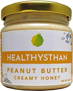 Healthysthan Peanut Butter Creamy Honey (NMR Tested Honey) (200 g) - Naturally Sweet, High Protein, Healthy Fats