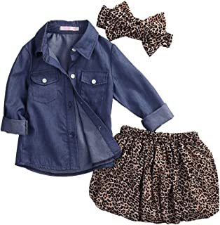 Baby Girls Cowboy Skirt Set Blue Jean Shirt + Leopard Skirt + Headband 3Pcs Outfits