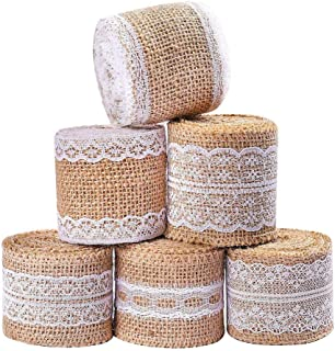Adeeing 6 Rolls Burlap Ribbon Roll with White Lace Trims, 13 Yards Natural Burlap Jute Tape DIY Crafts for Rustic Vintage Wedding Home Party Decoration Christmas Gift Wrap