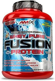 AMIX - Proteína Whey - Pure Fusion - 2,3 Kg - Concentrado de Suero Ultra Filtrado - Proteína Isolada con Splenda - Contiene L-glutamina - Proteínas para Aumentar Masa Muscular - Sabor Chocolate