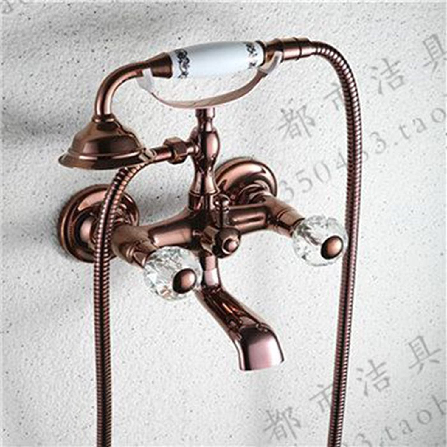 ZQ@QXAll copper antique pink gold Simple Shower Kit,