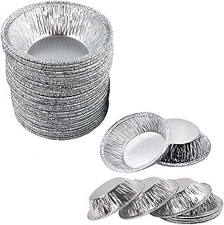 OBTANIM 100 Pack Disposable Aluminum Foil Mini Tart Pans, 3 Inch Small Pie Pan Portuguese Tart Baking Mold Mini Tart/Pie T...
