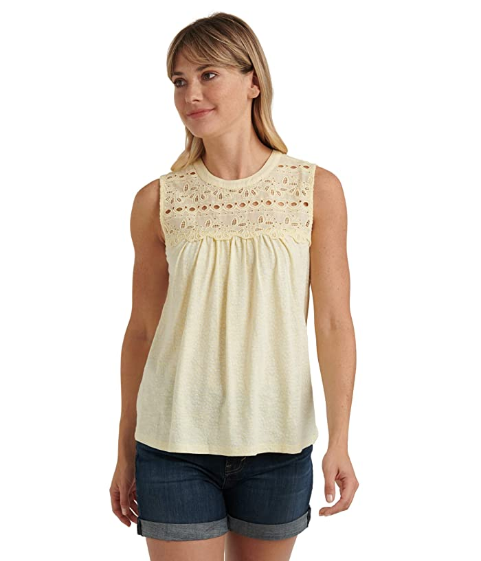 Lucky Brand  Sleeveless Crew Neck Embroidered Shiffly Top (Yellow Multi) Womens Clothing