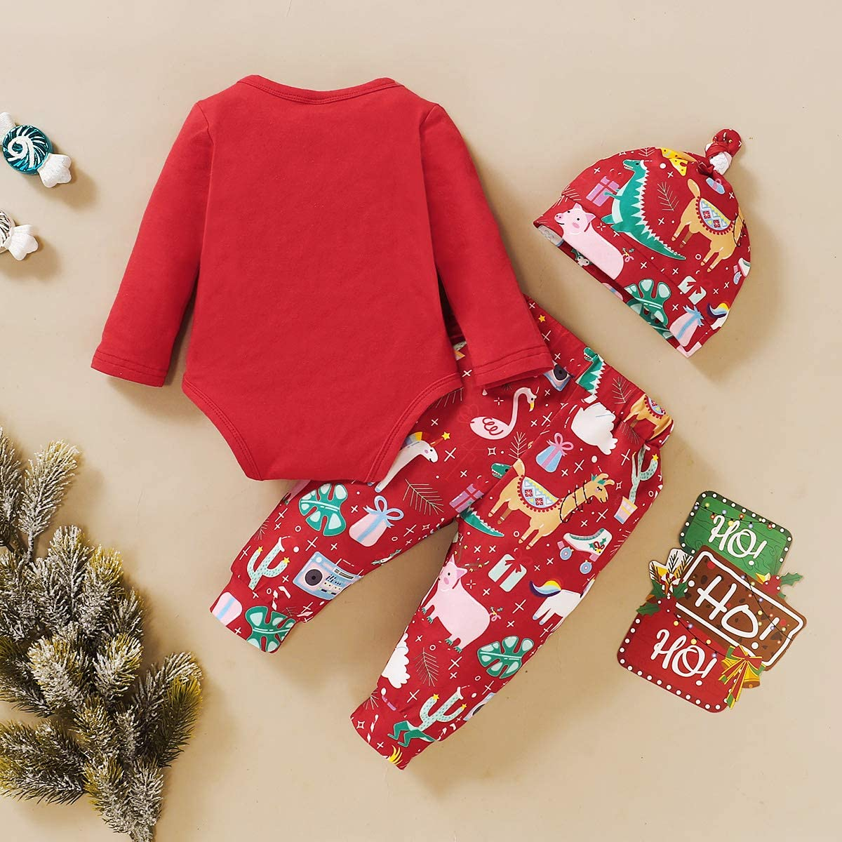 Hat 3Pcs for Baby Boy Girl Baby Christmas Outfit Newborn Romper Cotton Pants