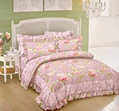 MIL Furnishings Elegant Glace Cotton Double Bed Comforter Set with Bedsheet and Cushions, King Size, Multicolour