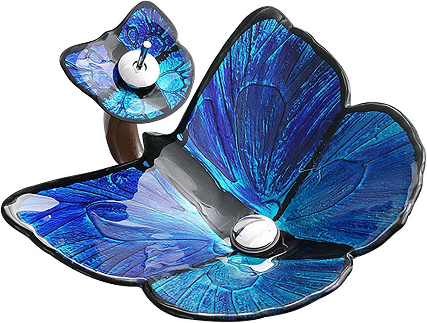 SHUGUANG Lavabo de Vidrio Templado, Lavabo Cristal Templado Forma de Mariposa Lavamanos Cristal Baño, Lavabo sobre Encimera para Baño con Grifo de Cascada, Drenaje de Agua, 620×450×155mm,Azul