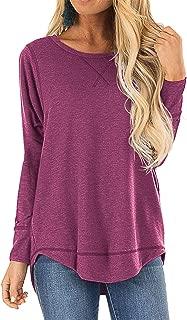 HIYIYEZI Fall Tops for Women Long Sleeve Side Split Casual Loose Tunic Top
