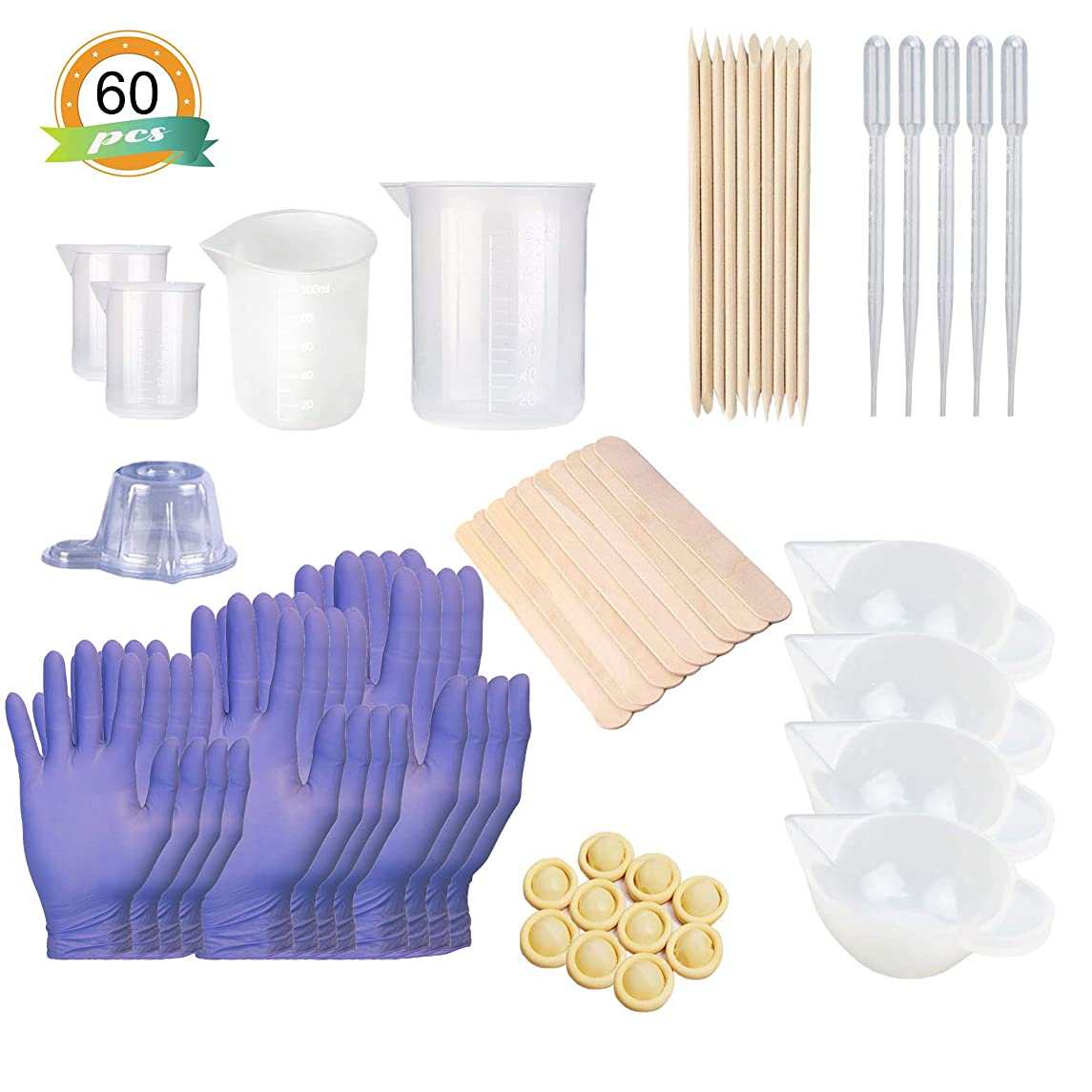 Silicone Mixing Cups Tool Sets - 4everjw Silicone Measuring Cups - Epoxy Resin Mixing Cups - Silicone Mat - Silicone Stir Stick - Plastic Transfer Pipettes - Finger Cots, Epoxy Resin, Rubber Gloves