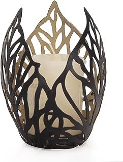 Adeco Decorative Leaf Design Metal Pillar Candle Holder - Black Color - Home Decor
