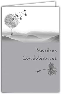 Afie 64-1034 Condolence Card Shiny Silver Landscape Last Travel Contemporary Graphic Grey Deuil Excess Delivered with Whit...