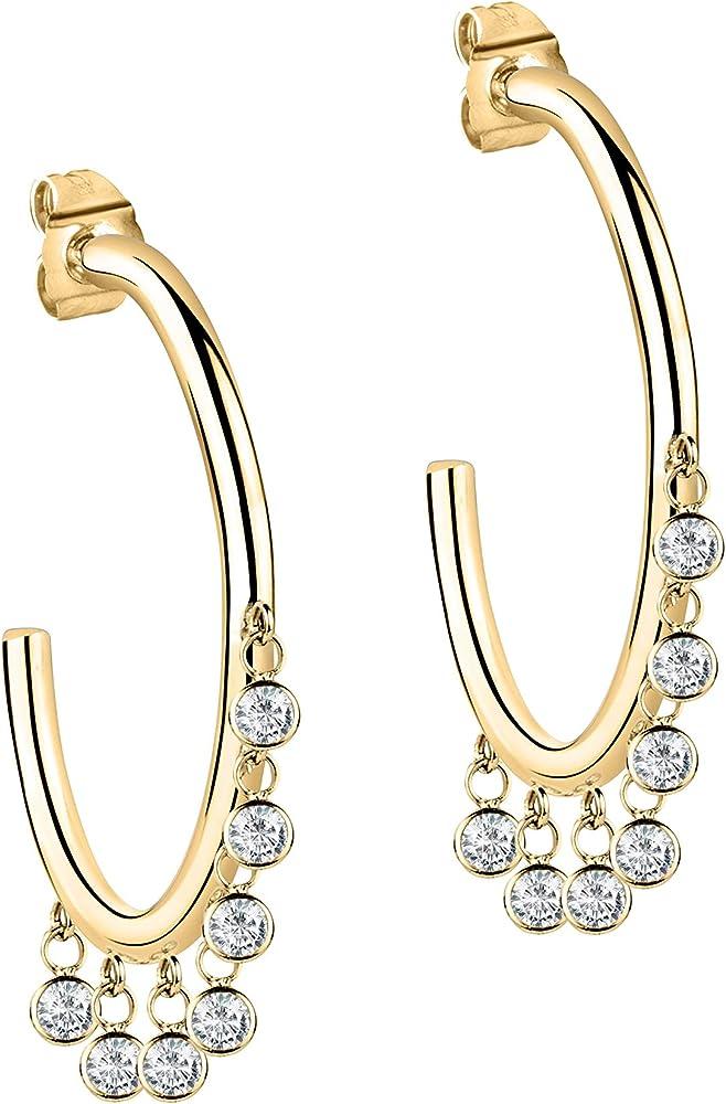 Morellato, orecchini a cerchio da donna, in acciaio inossidabile e cristallo SAKM55
