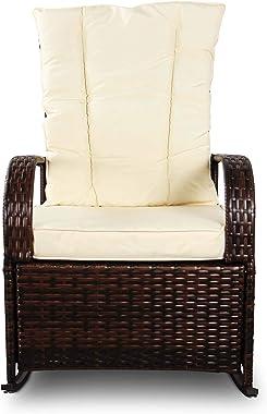 SCYL Color Your Life Set of 2 Indoor & Outdoor PE Wicker Rocking Chair Porch Garden Lawn Deck Auto Adjustable Rattan Reclinin