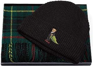 Polo Ralph Lauren Men's Bear Hat & Plaid Scarf 2 Piece Set One Size