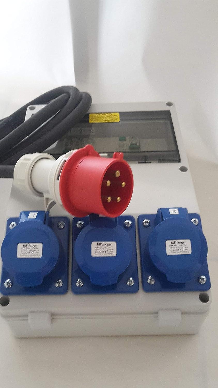 Portable 3 phase distribution board splitter,3,4,5 Pin CEE sockets,hook up