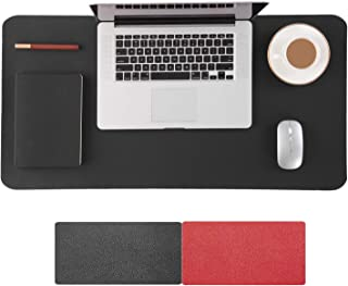 Large Desk Mouse Pad 90 x 40 Centimeters, Double-Sided Use, PU Leather Extended Gaming Mousepad Keyboard Mats for Gaming Working, Oversized Soft Desktop Mat, Non-Slip, Waterproof, Black and Red