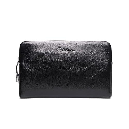 b536a51142 Pochette Verrouillage de Code de Cuir Vintage pour Homme Noir Sac à Main  Grand Portefeuille Sacoche