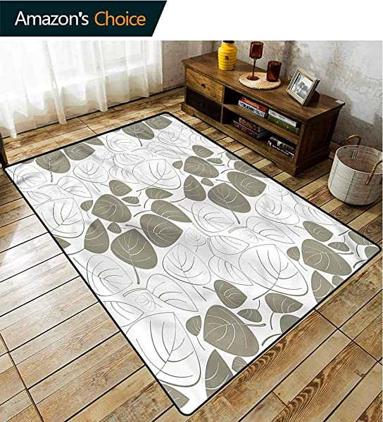 TableCoversHome Leaf Print Area Rug Modern Silhouette Floral Ornament Pattern Printing Carpet Durable Carpet Area Rug Living Dinning Room Bedroom Rugs And Carpets 2 X 6