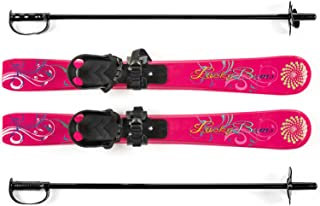 Lucky Bums Kids Beginner Ski and Pole set with bindings, Multiple colors