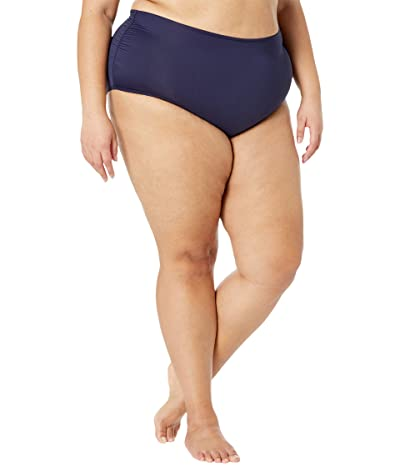Anne Cole Plus Size Convertible Shirred High-Low Bottoms (Navy) Women
