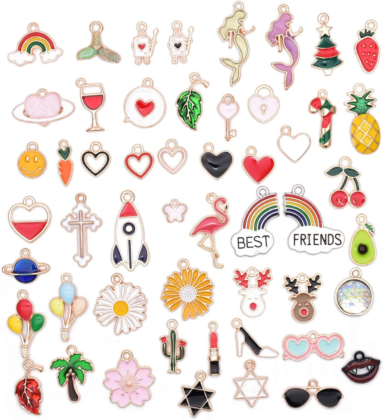 Pack Minneapolis Mall of Large special price !! 52 Mix Enamel Charms Plated Hawaii Colored Pendants Gold