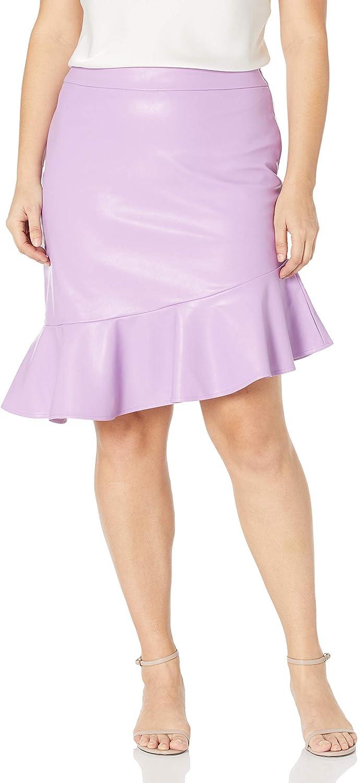 KENDALL + KYLIE Women's Vegan Leather Flounce Skirt