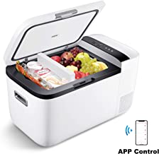ICECO GO20 12V Dual Zone Portable Refrigerator, Separate Control, 21 Quart/20 Liter, DC & AC, 0℉ to 50℉, with Danfoss Compressor, Mini Fridge Cooler Refrigerator for Outdoor, Home Use, White