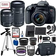 Canon EOS Rebel T7i Digital SLR Camera with EF-S 18-55mm is STM and EF-S 55-250mm is STM Lens (Black) 19PC Professional Bundle Package Deal –SanDisk 64gb SD Card + Professional Camera Bag + More