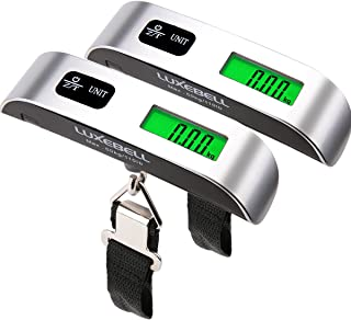 Luxebell Digital Travel Luggage Scale 110lbs with Temperature Sensor and Backlight LCD Display (Sliver Pack-2)