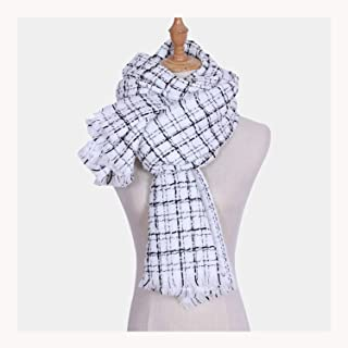 Acrylic Ladies Scarf Plaid Thick Shawl 200 * 70cm,Perfect Accent to Any Outfit (Color : White, Size : 200 * 70cm)