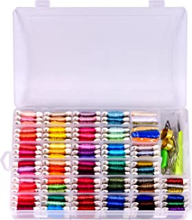 Embroidery Floss & Bracelet String Kits with Organizer Storage Box-Cross Stitch Threads Set-Friendship Bracelets Floss-Crafts Floss-84 Cotton Floss 6 Metallic Thread,Colorful Wool Roving,Tool Kits