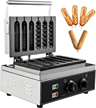 VBENLEM Commercial Lolly Waffles Makers 6pcs Nonstick Hot Dog Corn Waffle Maker Stainless Steel 110V Temperature and Time Control Lolly Waffle Maker Suitable for Restaurant Bakeries Snack Bar Family