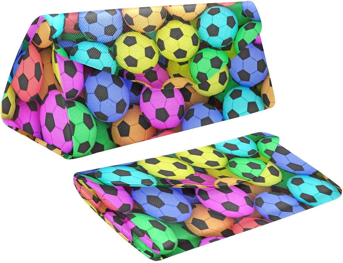 Eyeglass Cases Custom Colorful soccer balls Painted Hard Shell Foldable Portable Glasses Case
