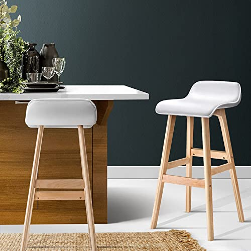 Artiss 2 Pcs Bar Stools 74cm Height Wooden Counter Stools, Contoured Leather Foam Bar Chairs for Home Kitchen Dining ...